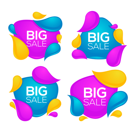 shine: Big sale, vector collection of bright glossy and shine discount bubble tags, banners and stickers on white background