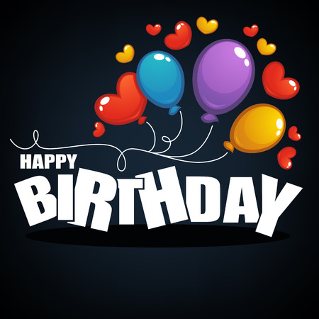 Glossy and shine birthday card vector template,with balloon images and happy birthday lettering composition Vetores