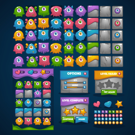 Happy monsters, match 3, large vector cartoon collection, characters, elements, GUI, UI  for your own mobile game