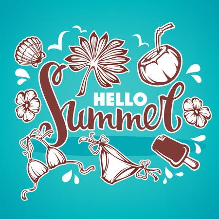bikini: Hello Summer,  tropical background with palm leaves, flowers, plants swimsuit ,ice cream and lettering composition