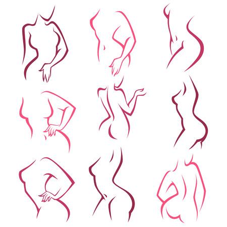 femmes nues sexy: Hygiène intime, vecteur de dames pose la collection pour votre logo