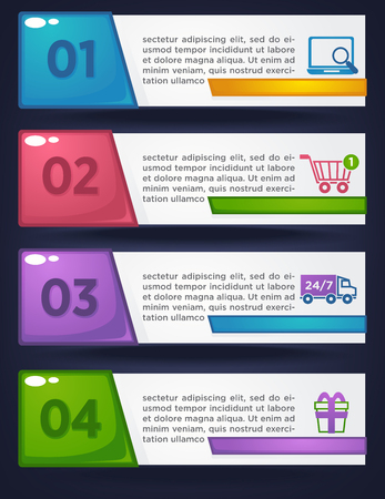 buiseness: Online shopping four steps vector banner template, searching, buying, delivery, bonus