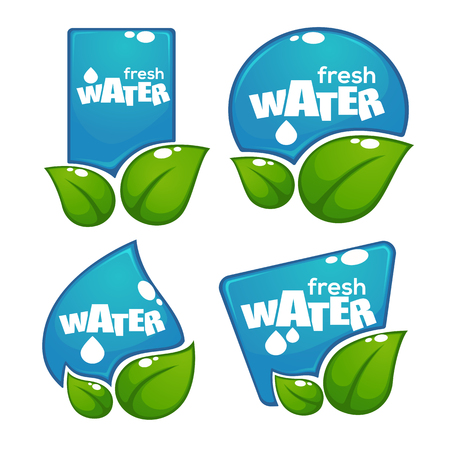 reflection of life: glossy and shine water labels and banners with green leaves on white background