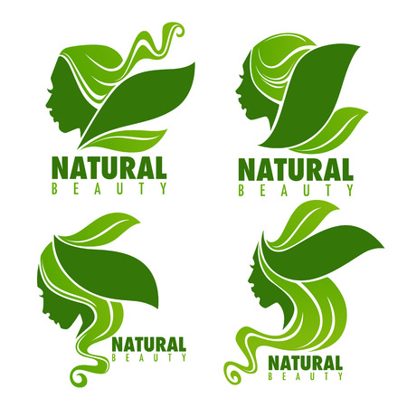 natural beauty, beautiful woman face with green leaves in the hair for your logo Illustration