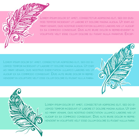 creativew writing banners with images of feather in boho style Illustration