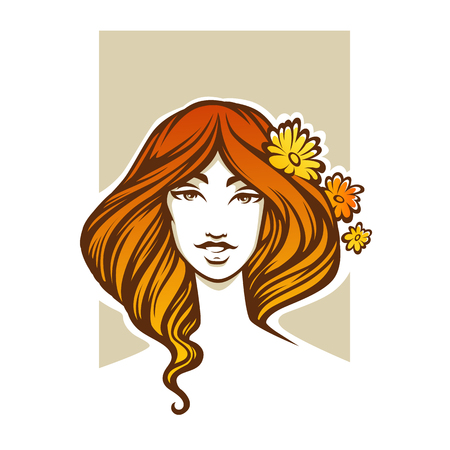 red hair beauty: natural beauty, vector portrait of romantic red hair lady with flowers