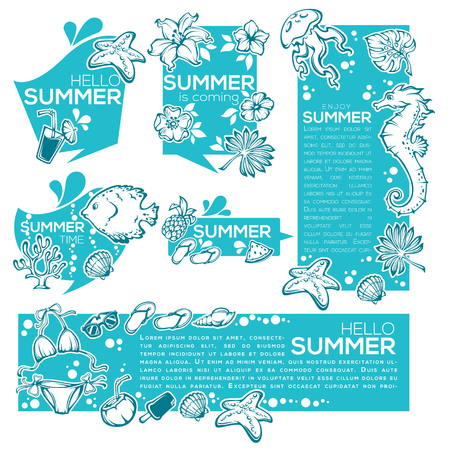 tropical: summer sticker collection, drinks, fish, flowers, leaves, dress Illustration
