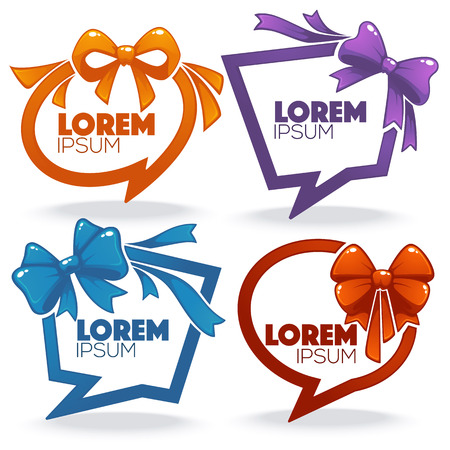 banner templates design looking like a ribbon speech bubble with a bow Ilustrace