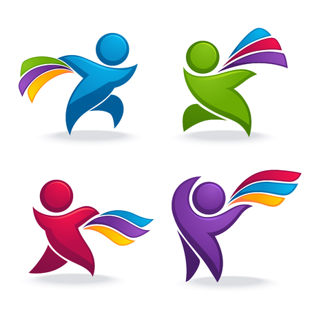 abstract spoortive people with vibrant rainbow ribbons in hands for your logo or emblems