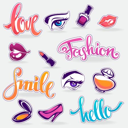 Vector collectie van glamour modieuze patch badges Stock Illustratie