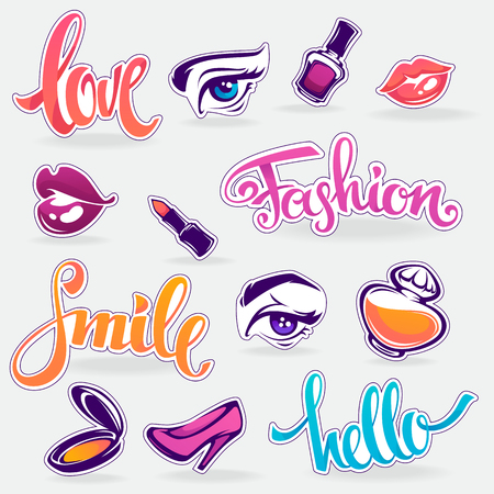 glamour makeup: vector collection of glamour fashionable patch badges Illustration