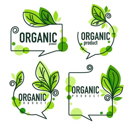 Doodle organic leaves emblems, elements, frames and logos.