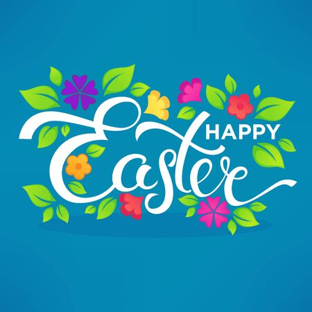 crocus: Happy Easter lettering composition for card, banner, poster, and flyer template design