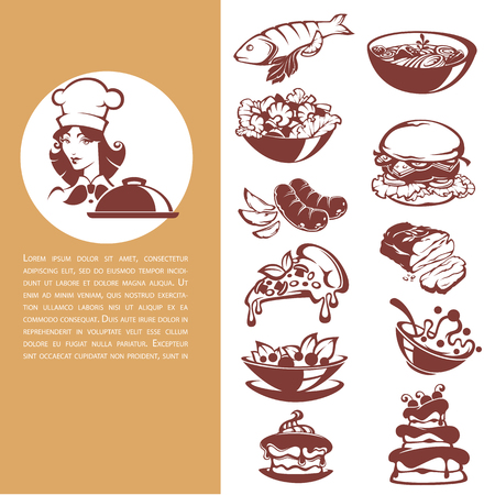 meat food: Common food, beautiful chef and meal collection with fish, meat, soup, salad, and dessert for your menu Illustration