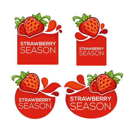 Strawberry season vector collection of juice stickers and berry symbols for your text