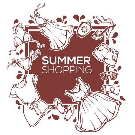 Summer shopping vector fashion design template with  clothes, accessories, shoes, and swimsuit Illustration