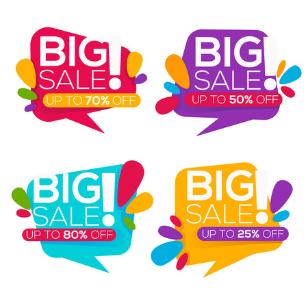 discount banner: super sale, vector collection of bright discount bubble tags, banners and stickers