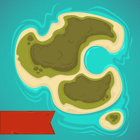 漫画の熱帯の島、ゲームのマップのトップ ビュー