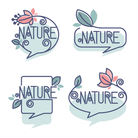 collection of doodle flowers emblems, bubble, frames and logo Illustration