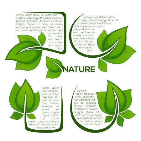 vector collection of fresh green leaf frames, emblems, design elements, stickers