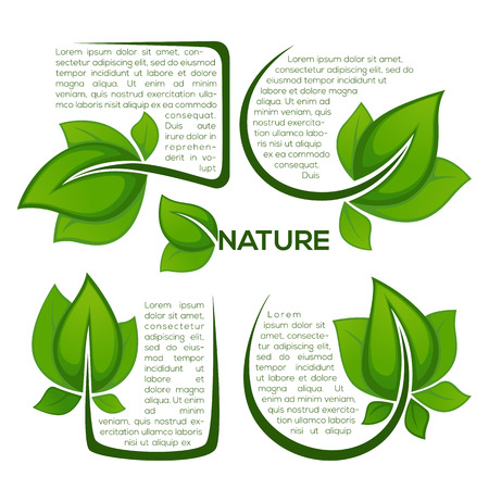 vector collection of fresh green leaf frames, emblems, design elements, stickers