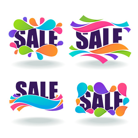 Sale lettering composition, vector collection of banner and stickers with drops and ribbons