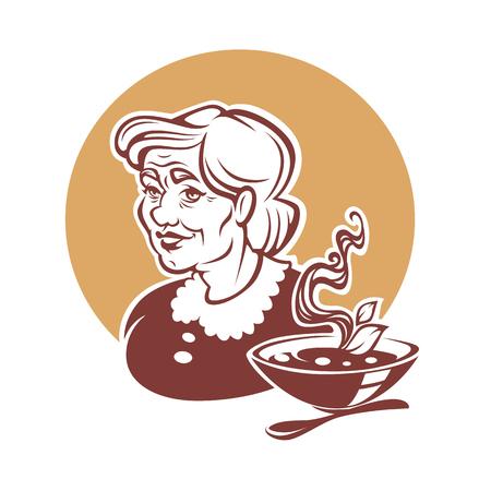Vectorportret van mooie grootmoeder en naar huis gemaakte soep Vector Illustratie