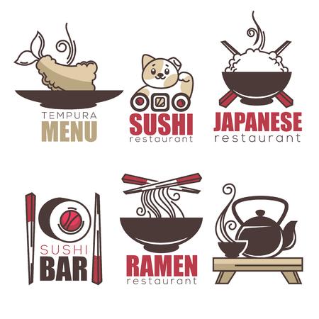 susi: sushi, tempura, ramen, tea, doodle cartoon logo template for your Japanese restaurant