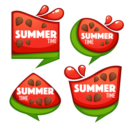 Summer time, vector collection of sweet and shine watermelon banner, stickers and labels Illustration