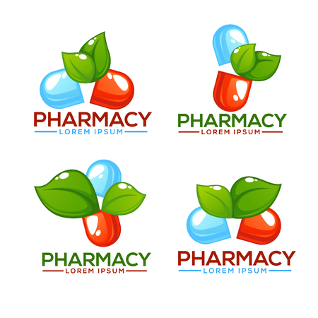green environment: Eco Pharma, Glossy nd Shine Logo Template with Images of Pills and Green Leaves