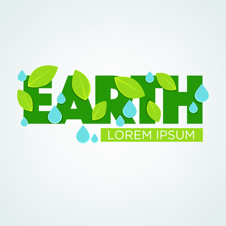 Earth lettering, green leaves, blue water drops in papper cut style Illustration