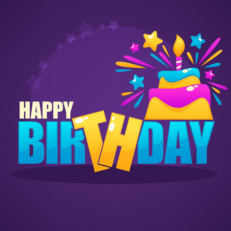 Glossy and shine birthday card vector template with image of birthday cake and candle