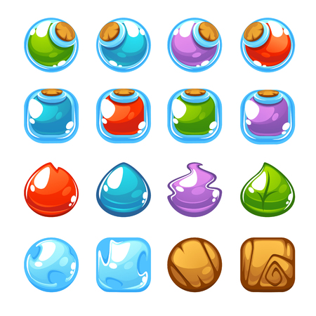 Potion maker, bubble shooter, match 3, vector objects and blocks Illustration