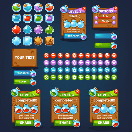 Potion maker, bubble shooter, match 3, large vector cartoon collection, characters, elements, GUI, UI  for your own mobile game Ilustração