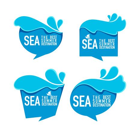 Sea The Best Summer Destination, water bubbles, stickers, labels, emblems