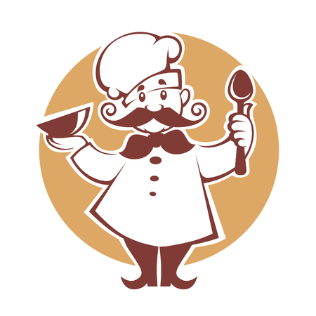 happy cartoon chef, vector illustration Ilustração