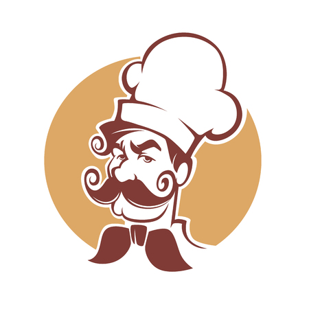 logo: Professional Man Chef with large mustache for your logo or label Illustration