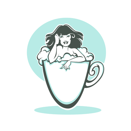 nude young: time for me, vector image  of happy pinup lady  taking a bath in a coffee cup