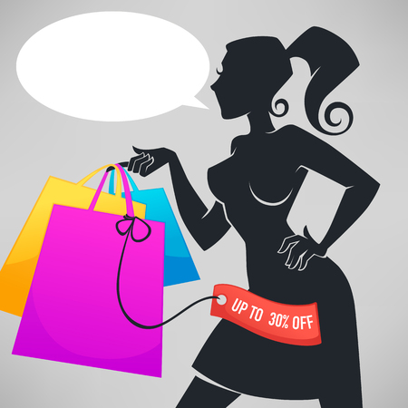 girl: vector silhouette of beautiful fashionable lady, holding shopping bags for your discount banner or flyer