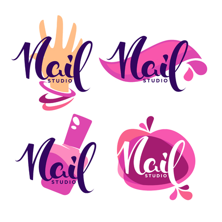 vector logo template for oyur Nail Stusio and manicure salon with lettering composition