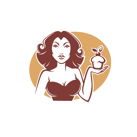 home: beauty retro pinup girl holding a delicious tasty cupcake for your logo or emblem