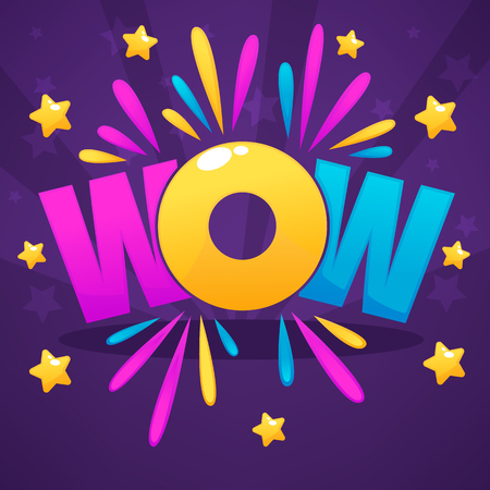 Wow lettering sign with color confetti  and gold stars Imagens - 78440191