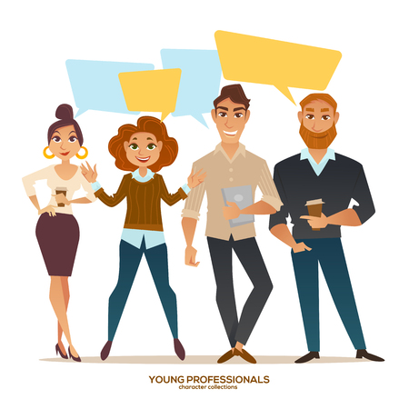 young professionals, people with speech bubbles, vector men and women Иллюстрация