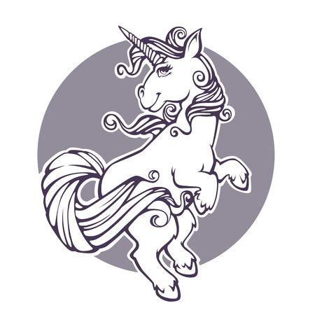 fantasy world, cartoon unicorn, vector print for your coloring book Illustration