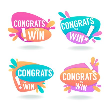 Gefeliciteerd, Win, Vector Felicitatiebanners en Bubbels Stock Illustratie