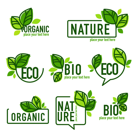 doodle organic leaves emblems, elements,  frames and logo