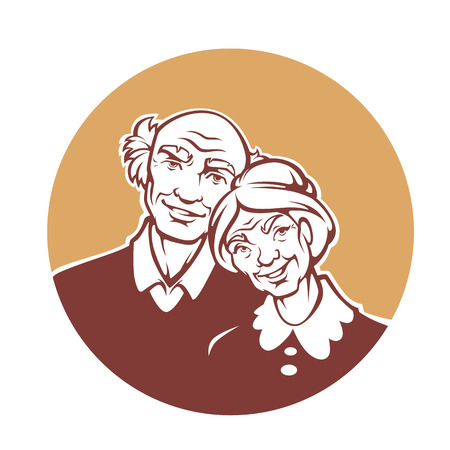 happy old family, vector portrait of lovely grandmother and grandfather Иллюстрация
