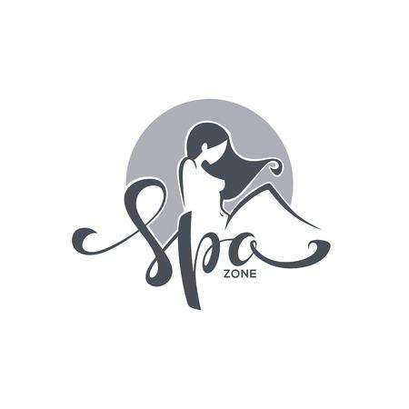 Spa et beauté, modèle de logo avec l'image de la composition de fille et de lettrage Banque d'images - 78904602