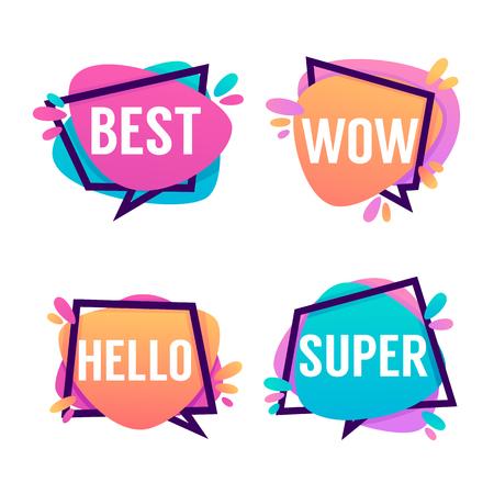 感情的なキュートで明るい吹き出し言葉ベスト、うわー、こんにちは、スーパー  イラスト・ベクター素材