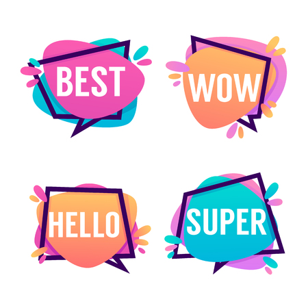 Cute And Bright Speech Bubbles With Emotional Words Best, Wow, Hello, Super Vectores